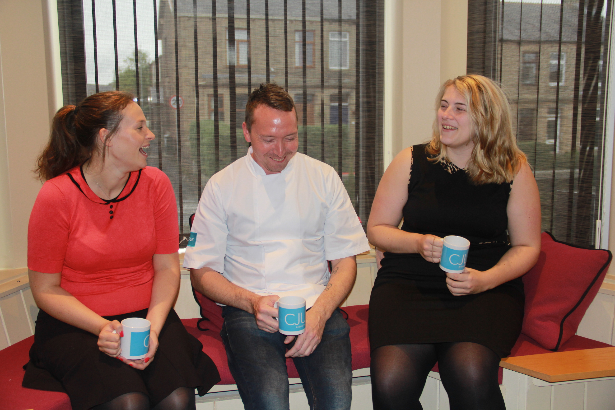 Keith enjoying a cuppa with CJUK Talent Manager, Susannah (left) and Account Manager, Laura (right)