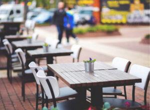Restaurant tables socially distanced COVID